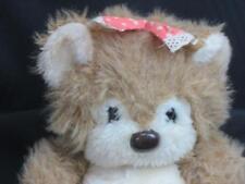 VINTAGE HANDCRAFTED CALIFORNIA STUFFED TOYS BROWN GIRL TEDDY BEAR POLKADOT BOW