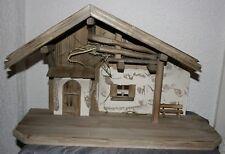Krippe Weihnachten Holz 53 cm x 31 cm  x 20 cm Krippenstall Weihnachtskrippe