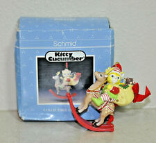 Vtg '90 Schmid Christmas Ornament Kitty Cucumber On Rocking Reindeer 333154 New