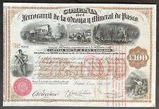 FERROCARRIL de la ORONYA y MINERAL de PASCO Stock 1878. Lima, Peru. BEAUTY. EF+