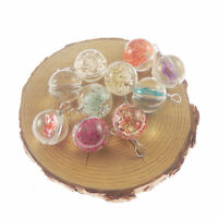 4 pcs Mix Dried Flowers Clear Glass Ball Charm Pendant Jewelry Accessories DIY
