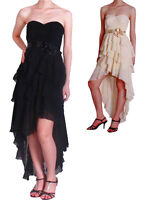 Strapless Formal Evening Cocktail Party Prom Dress Black Apricot SZ 8-16