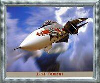 F-14 Tomcat Military Jet Aircraft Aviation Wall Art Decor Silver Framed Picture