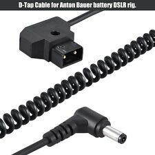 Coiled D-Tap Male to DC Plug Cable for DSLR Rig Power V-Mount Anton Battery A031