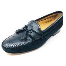 Mezlan Mens Black Ostrich & Suede Tassel Loafers Size 9.5M
