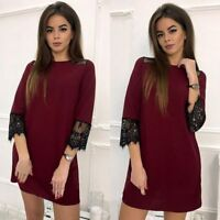 Fashionable Mini Woman Dress Solid Color With Lace Design Knee Length Party Wear