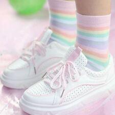 Ladies Pastel Rainbow Striped Ankle Socks One Size Kawaii Macaroon - LS0069