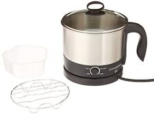 1.26 Quart Stainless Steel Electric Cooker 360° Rotating Base,600 W,Silver