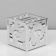 Christening Gift Boy Girl Kids & Baby Baptism Silver Plated Alphabet Money Box