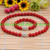 """8mm Coral Red South Sea Shell Pearl Round Beads Necklace 18"""" + Bracelet 7.5"""" Set"""