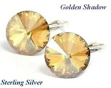 *STERLING SILVER* - RIVOLI- 12mm Golden Shadow Earrings Crystals from Swarovski®