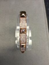 MICHAEL KORS MKJ3824791 Rose Gold Tone Pave Embellished Studd Bangle Authentic