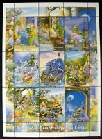 2001 MNH CONGO PETER PAN STAMP SHEET OF 9 FAIRYTALE STAMPS PRIVATE ISSUE
