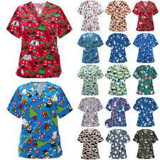 Women Christmas Novelty Short Sleeve T-Shirt Blouse Festival Print Tee Shirt Top