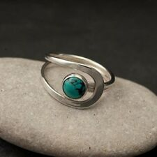 Vintage 925 Silver Turquoise Gemstone Ring Wedding Bridal Women Jewelry Sz6-10