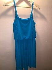 Moda International Summer Open Back Dress Size XL Built In Bra, Teal Blue