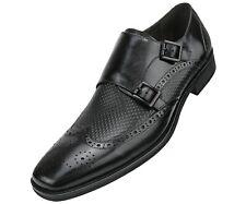 Men's Dress Shoes, Rich Genuine Buffalo Cow Leather, Formal Double Monk Strap