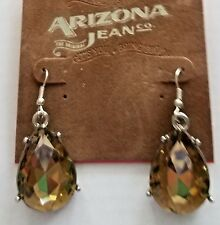 Topaz Color Fish Hook + Gift Box Arizona Jean Co Earrings Tear Drop Faceted Faux