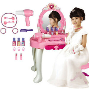Kids Girls Vanity Set Make Up Pretend Play Accessories Table Chair Stool Mirror