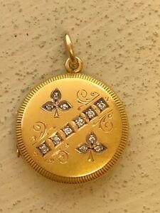 Estate Art Nouveau 1890s+ 14K Yellow Gold Locket - Rose Cut Diamonds .36ctw 7.4g