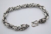 Pure S925 Sterling Silver Chain Men 's Double Dragon Hinge Link Bracelet / 19g