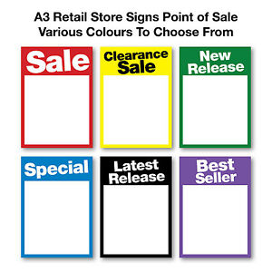 Shop Signs A3 Retail Point of Sale Pack of 25