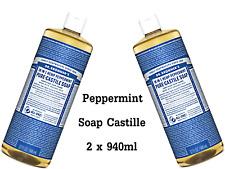 2 x 946ml DR BRONNERS Pure Castile Liquid Soap - Hemp Peppermint ( Bronner's )