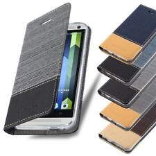 Wallet Case for HTC Book Cover Jeans Look Flip Etui Stand