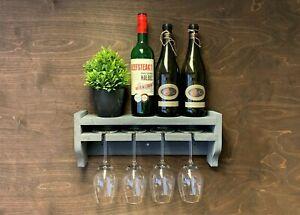 Grey Wine Shelf Rack Bottle 4 Glass Holder Wall Mounted Home Bar (WS-GR)(PK3)