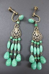 GORGEOUS VINTAGE ART DECO PEKING GLASS CHANDELIER SCREW ON EARRINGS