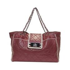 CHANEL East West Mademoiselle Turnlock Quilted Shoulder Tote Bag Red Leather