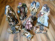 "Old Vintage Tall 16"" Nativity Set Lot 8 Statues Figures Figurines Indoor Outdoor"
