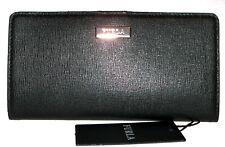 FURLA  Black Saffiano Leather Slim Bifold Clutch Wallet NWT
