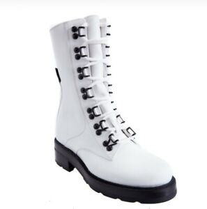 $ 1180 OLIVIER THEYSKENS White Leather Combat BootS , 38 size
