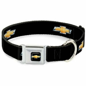 Buckle-Down Chevrolet Logo Black Large Seatbelt Buckle Dog Collar - DC-WCH007-L
