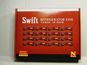 """MICRO-TRAINS LINE N SCALE SWIFT REFRIGERATOR LINE """"CLEAN"""" 16-PACK 99301920"""
