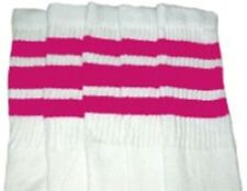 "25"" KNEE HIGH WHITE tube socks with HOT PINK stripes style 1 (25-63)"