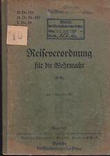 H.Dv. 159 Reiseverordnung für die Wehrmacht. Original 1937