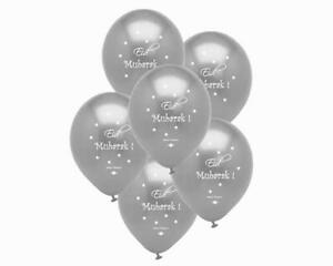 Eid Mubarak Balloons - Silver - Party Celebration Decorations - Happy Eid Faith