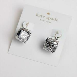 Kate Spade New York Small Square Silver Glitter Leverback Drop Earrings
