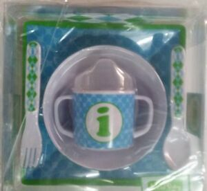 MUD PIE 5-PC BABY BOY INITIAL PLATE BOWL SIPPY CUP FORK & SPOON SET,INITIAL I