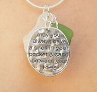 """Handmade Cornish Sea Glass & """"Sand Between your toes"""" Necklace Jewellery"""