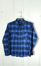 MICROS PEARL SNAP WESTERN FLANNEL SHIRT L/S BLUE PLAID MEN'S MEDIUM GRAPHIC