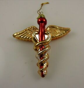 Caduceus medical symbol snake rod Christmas ornament Kurt S. Adler