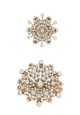 NEW NWT ACCESSORIZE MIRIAM CRYSTAL PEARL FLOWER FLORAL STATEMENT BROOCHES BROOCH