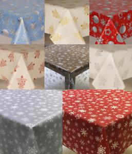 Plain Textured Christmas Pvc Oil Vinyl Table Cloth Wipe Clean Grey Red Modern