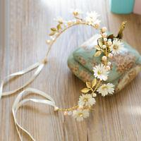 Classic Flower Headband Ribbon Wreath Wedding Garlands Floral Crown Hairband