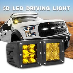 2x 3 inch Amber LED Work Light Offroad Pods Fog Flood Truck SUV Fog Driving Lamp