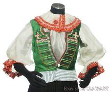 RARE vintage embroidered peasant blouse & green velvet vest Slovak folk costume