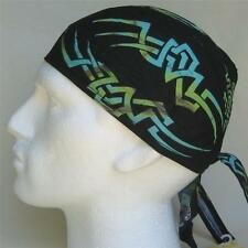 Neon Tribal Bandana Fitted Do Du Rag Black & Green Cap Bandanna Zandanna Hat